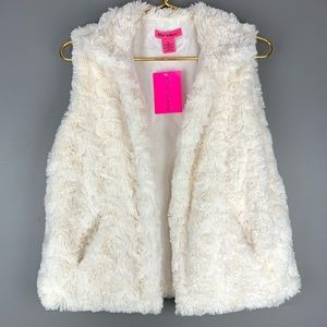 Betsey Johnson cream faux fur vest NWT, M